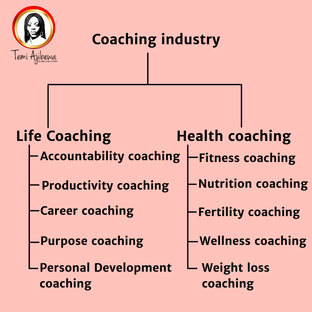 Tree chart showing different coaching niches in the coaching industry